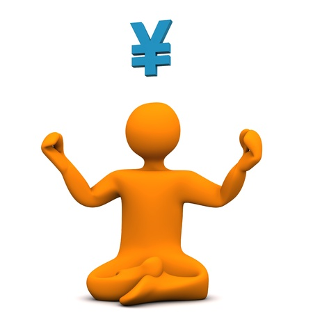 Orange cartoon character with yoga position and symbol of yen. photo