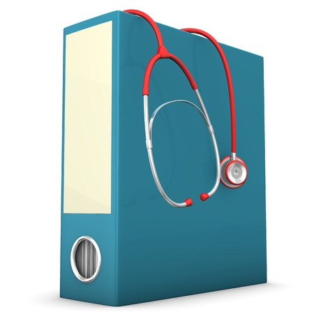 medical bills: Red stethoscope with blue folder on the white background.