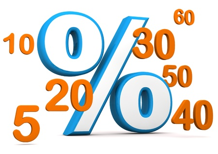 economize: Blue symbol of percent with orange numbers. White background.