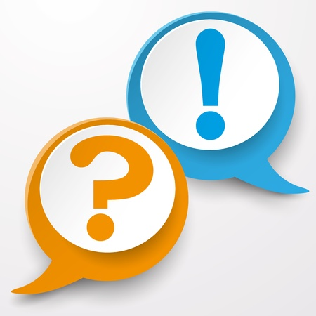 answer approve of: Paper labels with question and exclamation mark. White background.