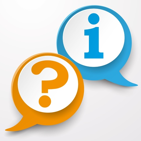 Paper speech bubble labels with question and information symbol. Stock Photo - 19333695
