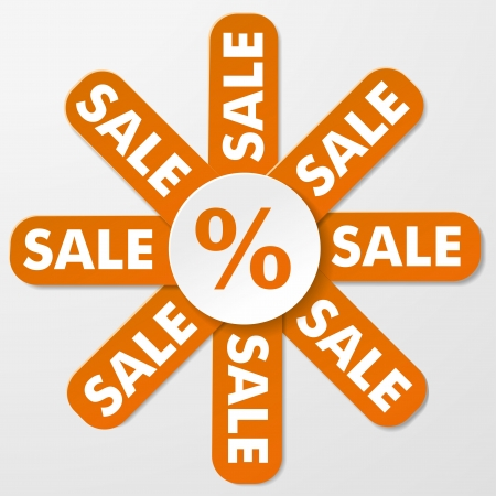 retailing: Paper infolabel with text sale