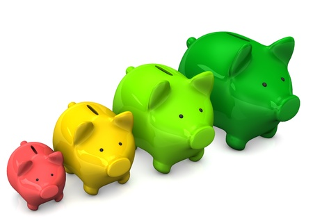 wad: Colorful piggy banks on the white background. 3d illustration.