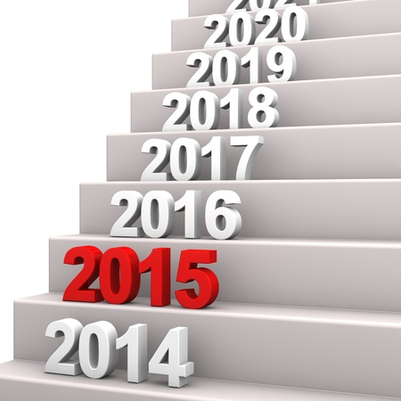 silvester: Stair with years. 3d illustration with white background.
