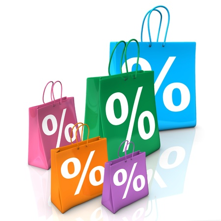 Colorful shopping bags with symbol of percent. White background. Stock Photo - 19333767