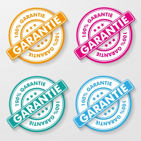 100 percent guarantee colorful paper labels  German text 100   garantie, translate 100  guarantee   Vector