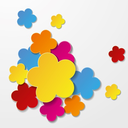 Greeting card design with colorful flowers