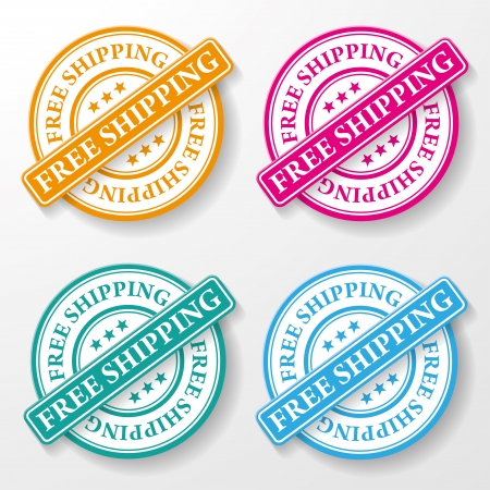 free icon: Free shipping colorful paper labels Illustration