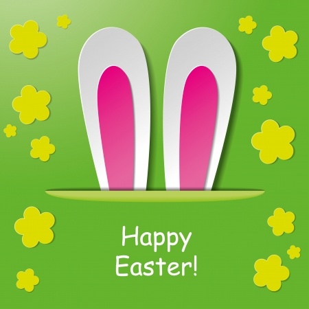 Greeting card design with bunny ears and text Happy Easter Vector