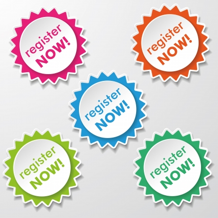 joining: Colorfull star paper stickers with text Register Now  Eps 10 vector file