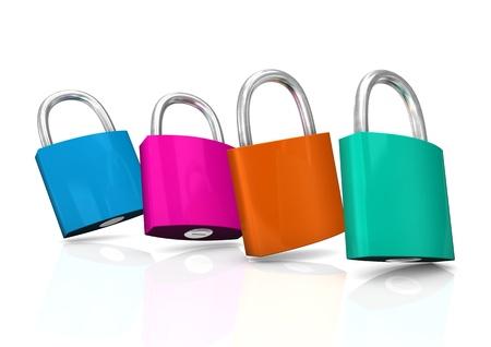 Four colorful padlocks on the white background. Stock Photo - 19333797