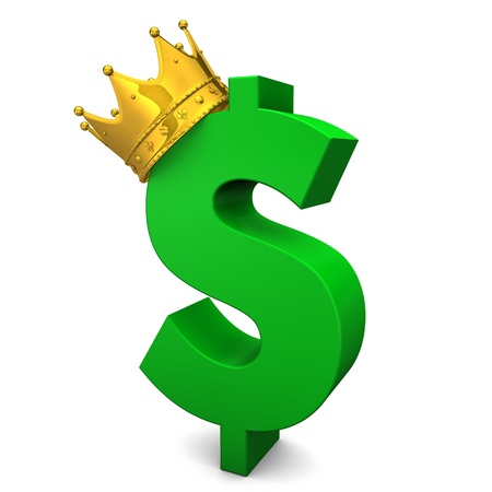 Green dollarsymbol with golden crown. White background. photo