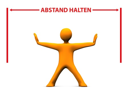 remoteness: Orange cartoon character with red german text Abstand Halten, translate Keep Distance.