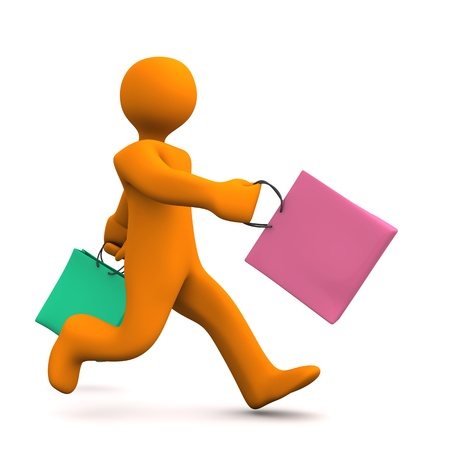 runs: Orange cartoon character runs with two shopping bags.