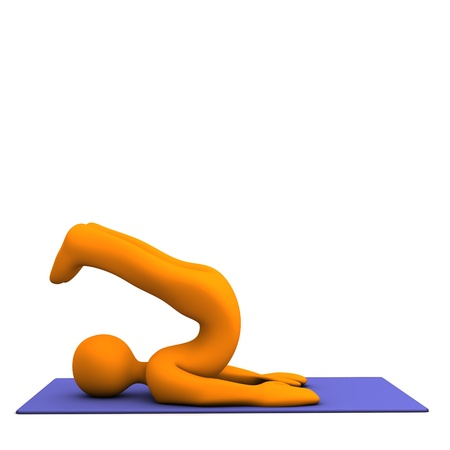 Orange cartoon character makes sport. White background. photo