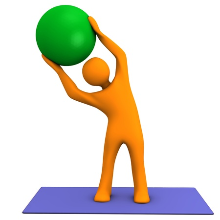 Orange cartoon character makes sport with medicine ball. photo