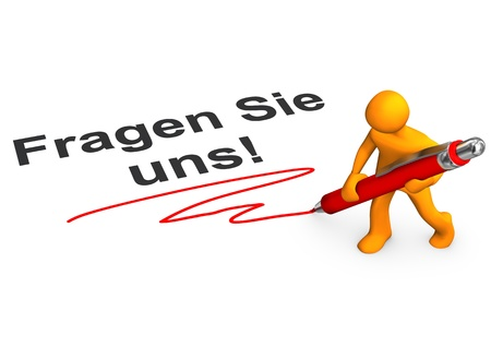 Orange cartoon character with ballpen and german text Fragen Sie uns, translate aks us. photo