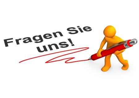 ballpen: Orange cartoon character with ballpen and german text Fragen Sie uns, translate aks us.
