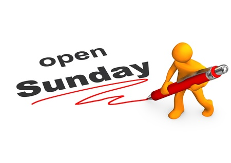 sunday: Orange cartoon character with red ballpen and text open Sunday.