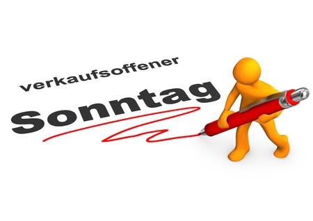 sonntag: Personaje de dibujos animados de Orange con bol�grafo rojo y el texto alem�n Verkaufsoffener Sonntag, traducir abrir Domingo.
