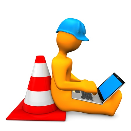 building contractor cartoon: Orange cartoon character with laptop and traffic cone.