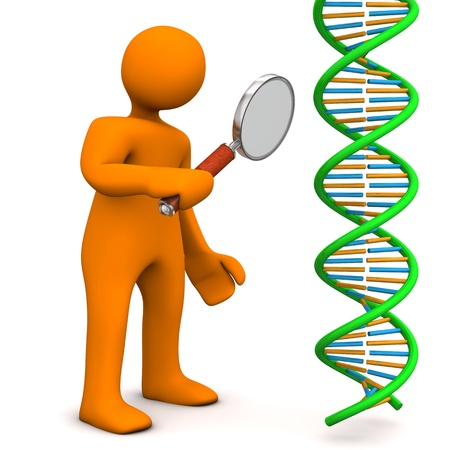 Orange cartoon character with loupe and dna. White background. photo