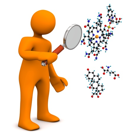 magnifier: Orange cartoon character with loupe and molecule. White background. Stock Photo