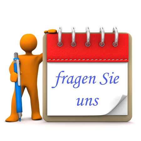 sign orange: Orange cartoon character with ballpen, notepad and german text Fragen Sie uns, translate ask us. Stock Photo