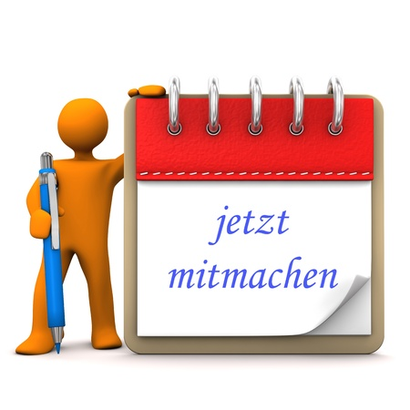 puppet woman: Orange cartoon character with ballpen, notepad and german text jetzt mitmachen, translate join now. Stock Photo