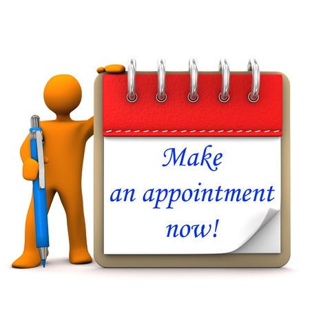 Orange cartoon character with ballpen, notepad and blue text Make an appointment now.