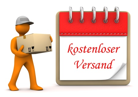 Orange cartoon character with packet and german text Kostenloser Versand, translate Free Shipping.