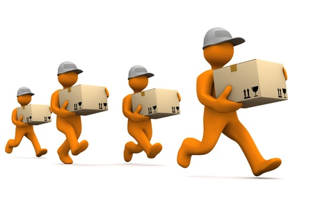 Orange cartoon characters runs with big parcels. White background. photo