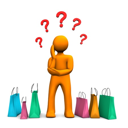 Orange cartoon character with shopping bags and red question marks. photo