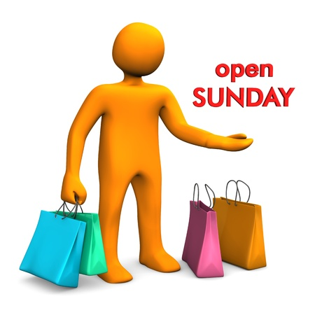 sunday: Orange cartoon character with shopping bags and red text Open Sunday.