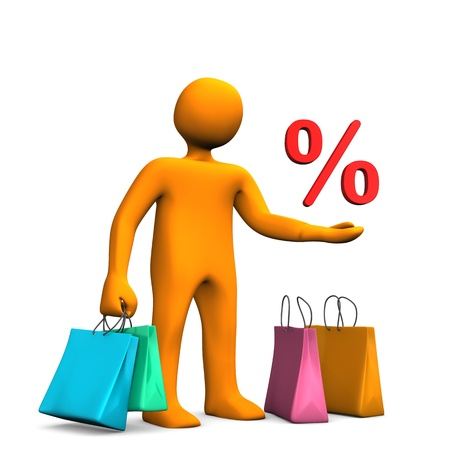 Orange cartoon character with colorful shopping bags and red symbol of percent. photo