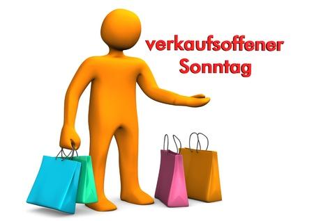 sonntag: Personaje de dibujos animados naranja con bolsas de la compra y Roja Alemana texto verkaufsoffener Sonntag, traducir Domingo Apertura Foto de archivo