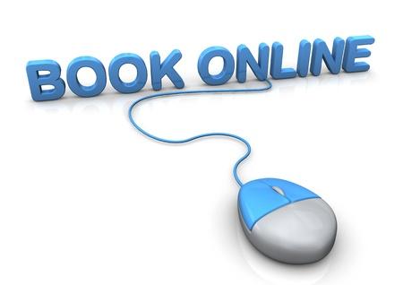 PC-Mouse con el libro de texto azul en línea. Fondo blanco.