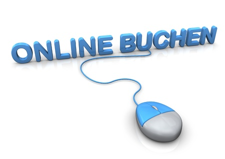 PC-Mouse with blue german text Online Buchen, translate Book Online. photo