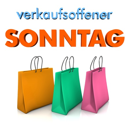 snip: Three shopping bags with german text verkaufsoffener Sonntag, translate open sunday. Stock Photo