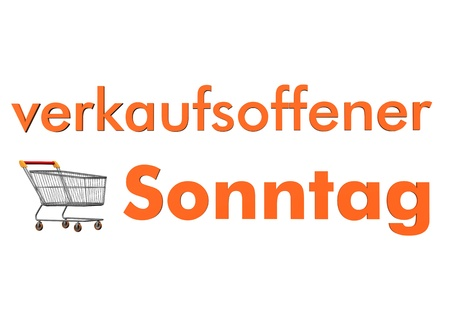 sonntag: Shopping cart with orange german text verkaufsofferner Sonntag, translate open sunday. Stock Photo