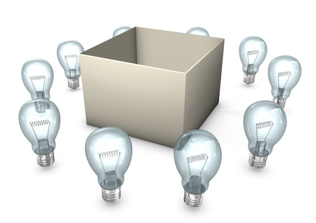 encourage: A box with ten bulbs on the white background.