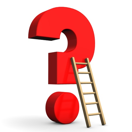 queries: Red question mark with ladder on the white background.