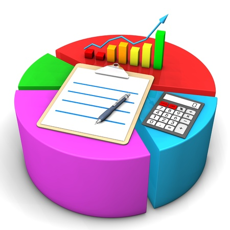participation: Colorful diagram with clipboard, chart, calculator and ballpen.