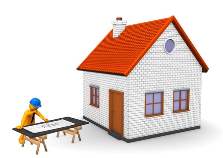 3d puppet: Orange cartoon character with blue helmet, house and construction plan. White background. Stock Photo