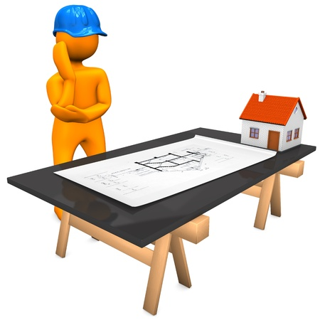 Orange cartoon character with blue helmet and construction plan. White background. photo