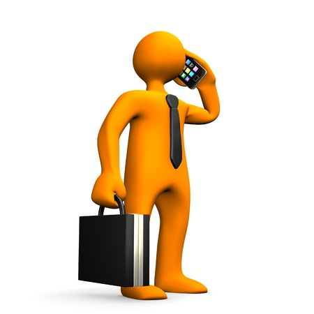woman on phone: Orange businessman with black tie, case and smartphone. Stock Photo