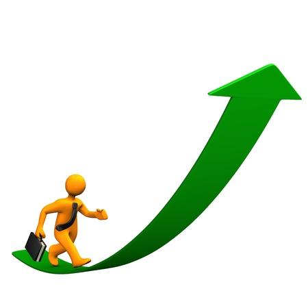 Orange cartoon character as businessman runs on the green arrow. photo