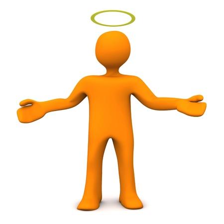 gloriole: Personaje de dibujos animados de naranja con gloriole. Fondo blanco. Foto de archivo