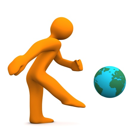 Orange cartoon character kicks the globe. White background. photo