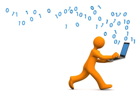 orange cartoon: Orange cartoon character runs with a laptop. White background. Stock Photo